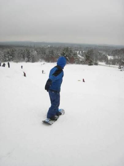 Zack on his snowboard