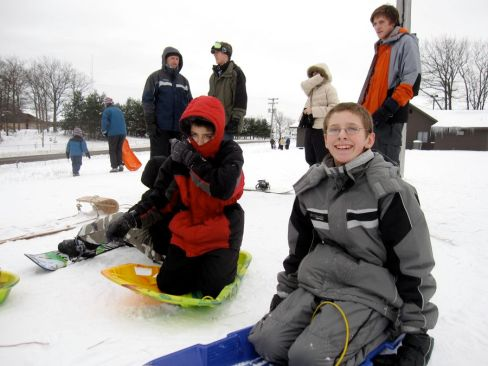 Jake and Luke getting ready to sled