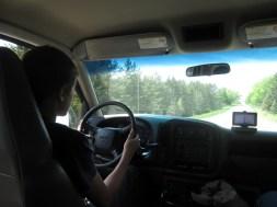 Jacob driving to Bear Lake