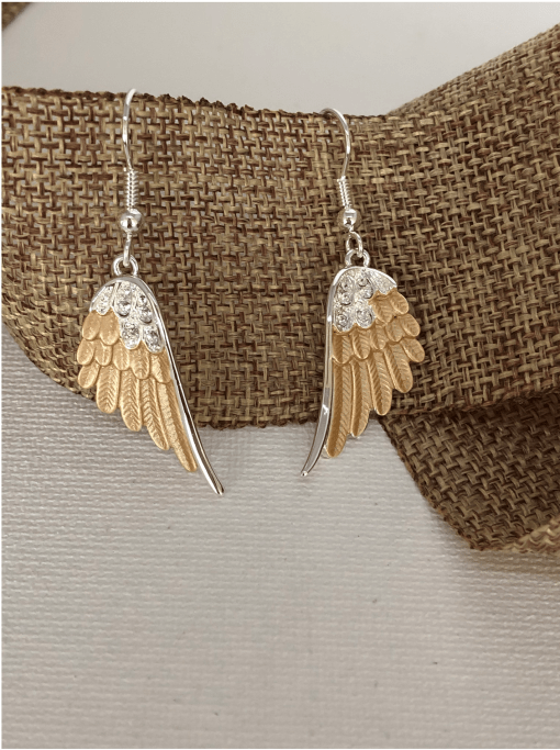 Wing Wire Earrings Two Toned CYS