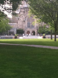 View of the Sterling Memorial Library at Yale University