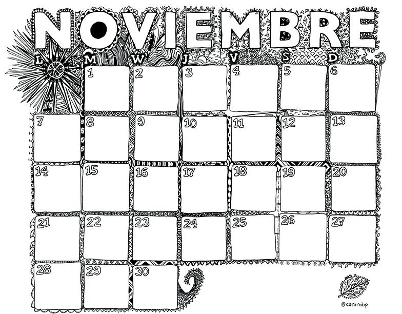 NOVIEMBRE Calendario Para Imprimir Y Pintar 2016 Caro Rob P
