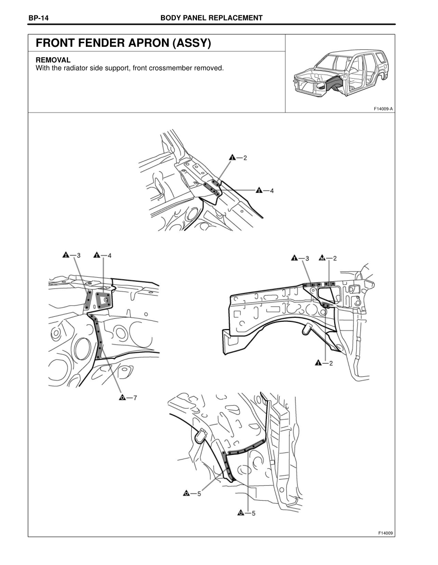 2003-2008 TOYOTA 4Runner Repair Manual, Front Fender Apron
