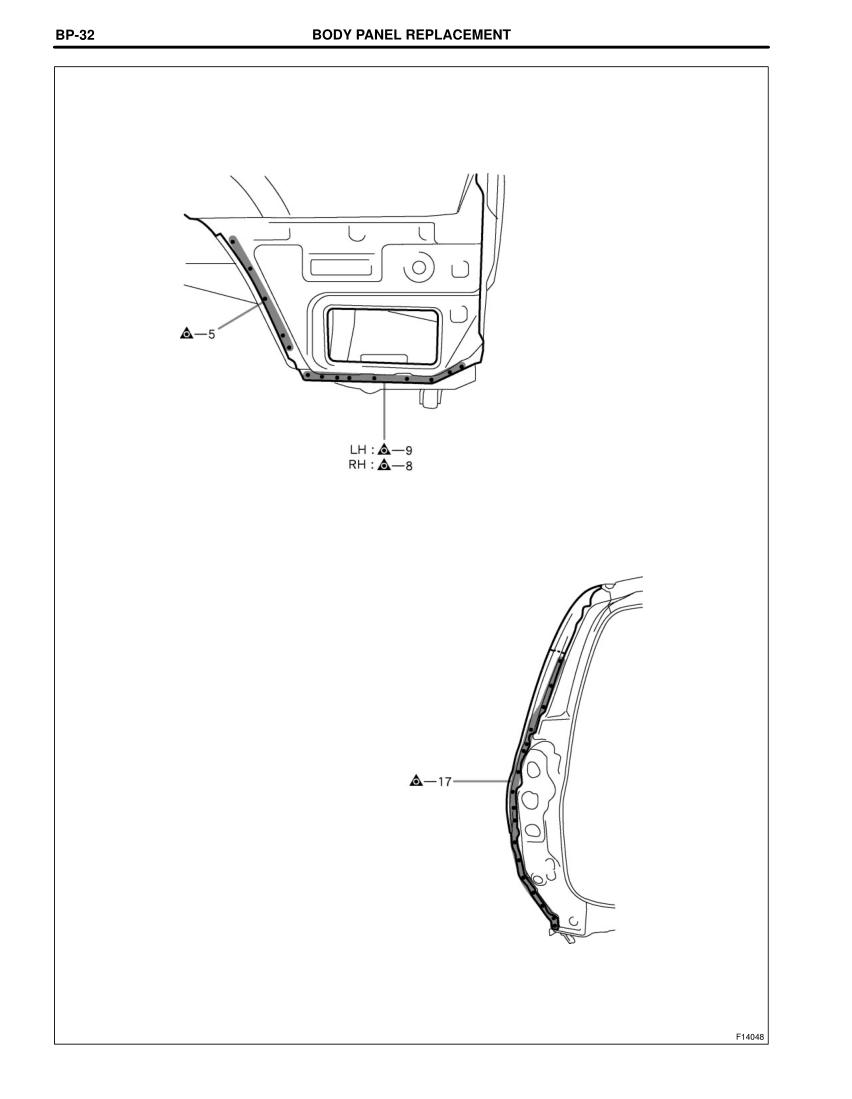 2003-2008 TOYOTA 4Runner Repair Manual, Quarter Panel (Cut
