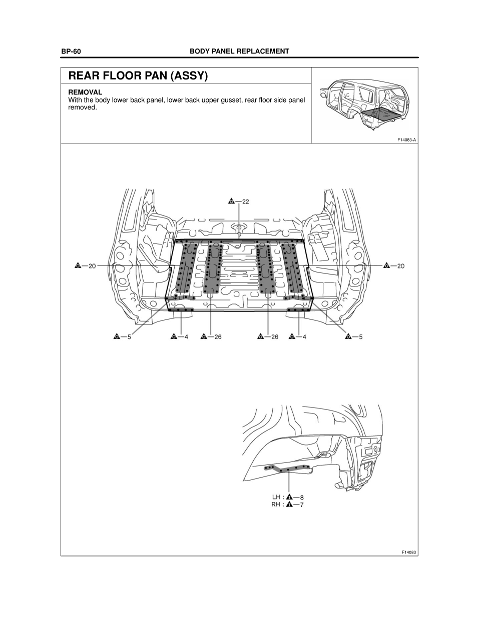 2003-2008 TOYOTA 4Runner Repair Manual, Rear Floor Pan