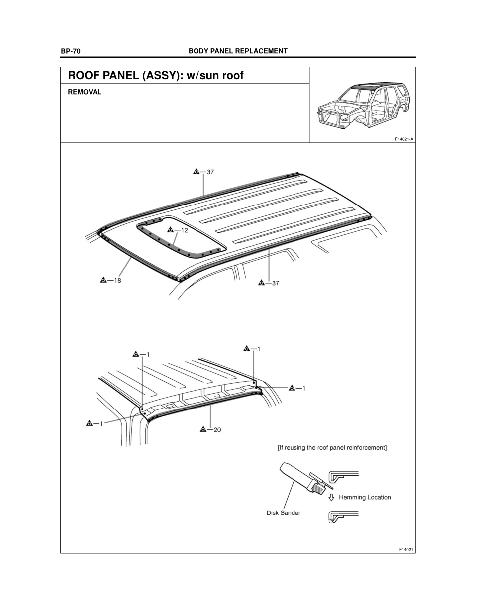 2003-2008 TOYOTA 4Runner Repair Manual, Roof Panel (Assy
