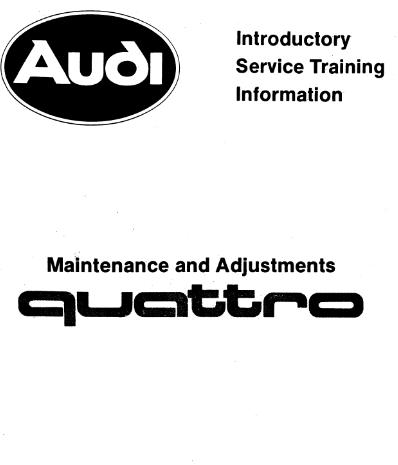 1985 Audi Turbo Quattro Coupe Introductory Service Repair