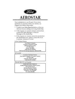 1996 Ford Aerostar Owner Manual Free Download PDF Manual