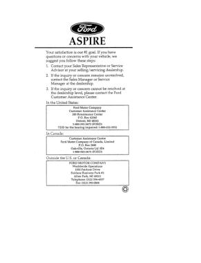 1996 Ford Aspire Owner Manual Free Download PDF Manual