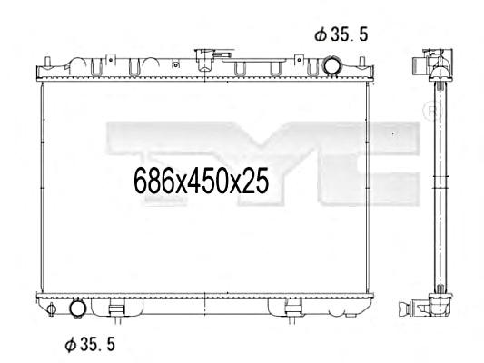 Engine Cooling Radiator 686x450x25 mm Fits NISSAN X-Trail