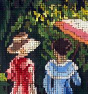 """Részlet Színyei """"Séta"""" c. képéről készült kézzel festett leszámolós mintalapról"""
