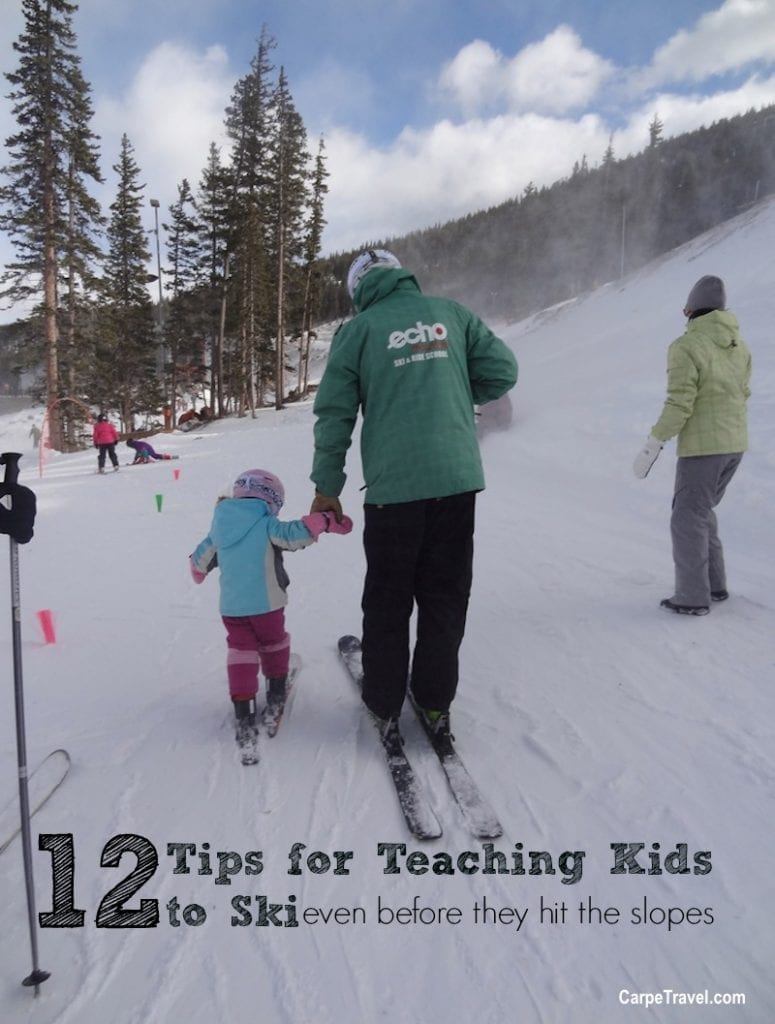 12 Tips for Teaching Kids to Ski (even before they hit the slopes). Click over to read what the ski experts suggest as well as what parents have learned through teaching their own kids to ski.