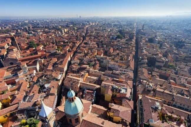 Italy with Kids - skyline view from Asinelli Tower of Bologna, Italy