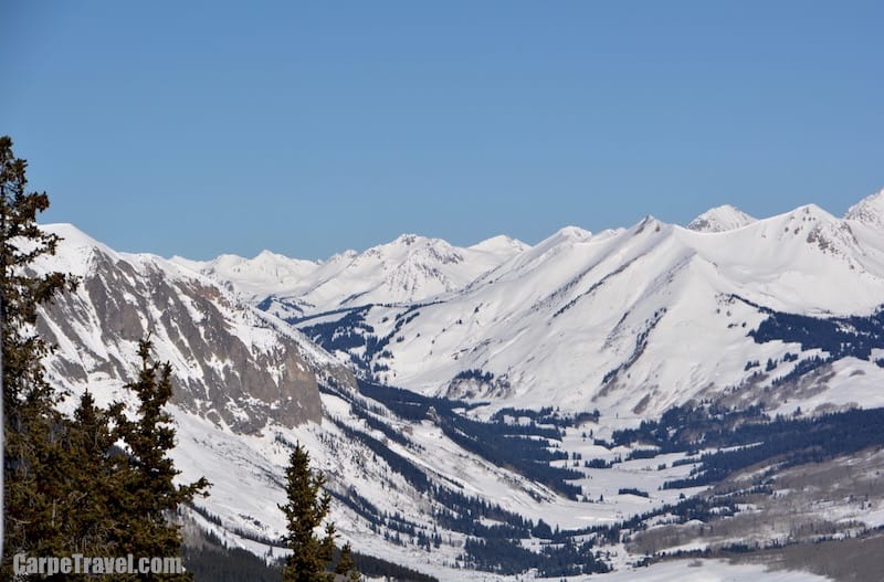The view from atop Crested Butte Mountain, overlooking the Elk Mountain Range.