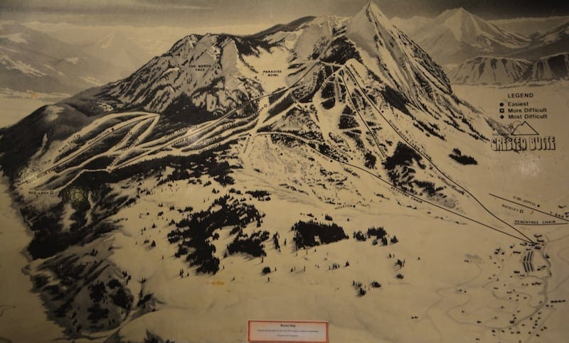 This map shows the original runs at Crested Butte when it opened in 1961.