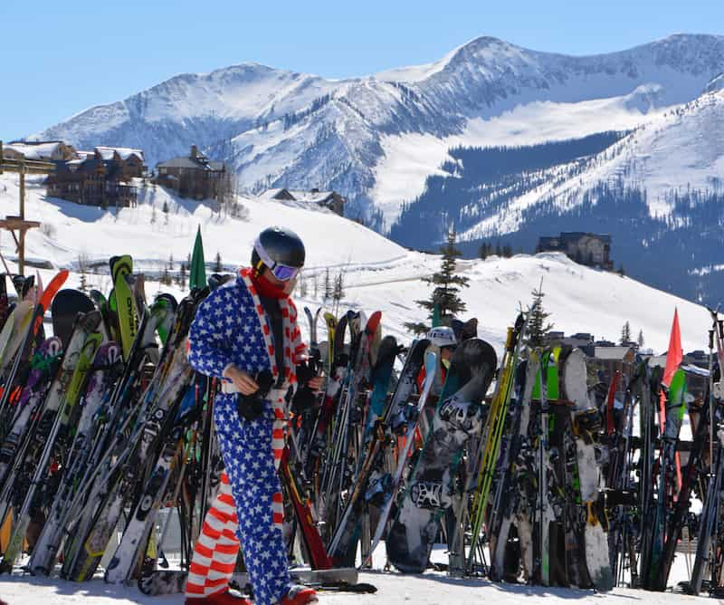 A skier in Crested Butte, Colorado rocking the red, white and blue, Photo by Elaine Schoch