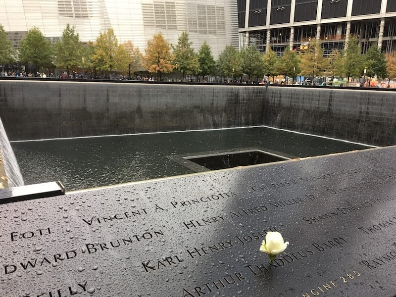 There were 2,977 victims killed in the September 11 attacks. Each person is listed at the 9/11 Memorial and Museum. A white rose is placed next to each name on what should have been their birthday. Photo by Elaine Schoch, Carpe Travel