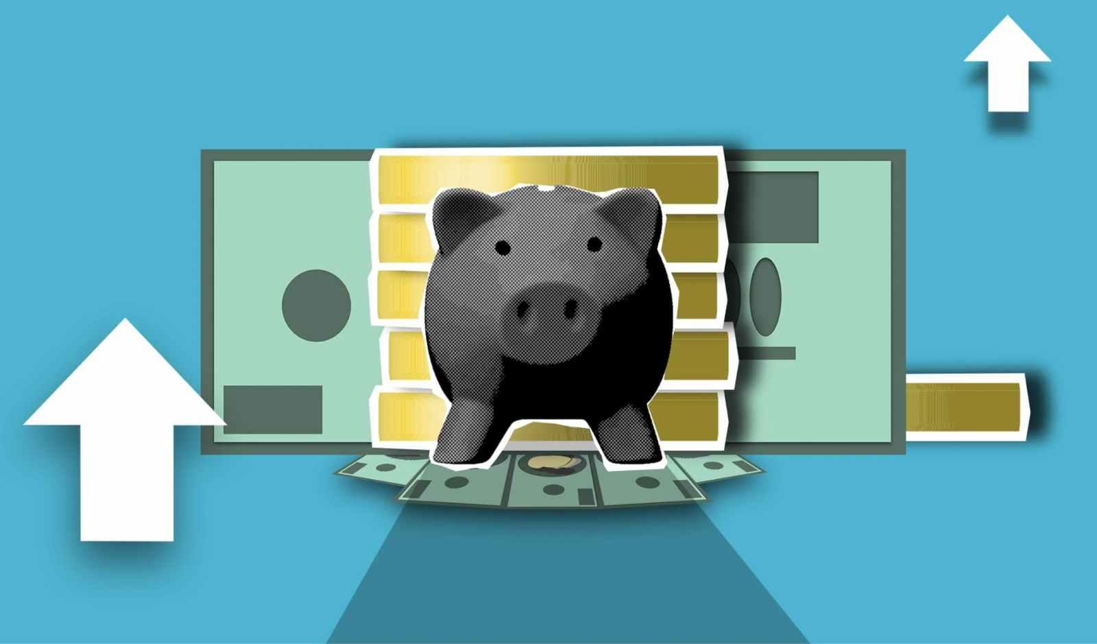 decorative illustration of money box and arrows