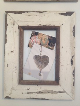 Heart postcard in a wooden frame
