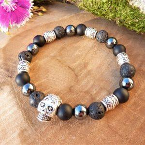 bracelet agate hématite lave tête de mort