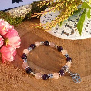 Bracelet améthyste celtique avec perle entrelacs et breloque nœud pour Femme