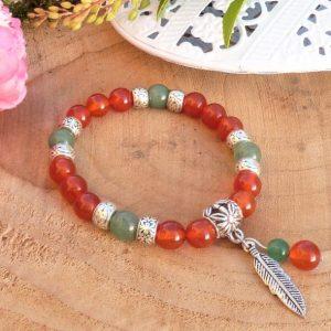 Bracelet CREATIVITE cornaline et aventurine avec plume – Fait main France – Bijou d'âme