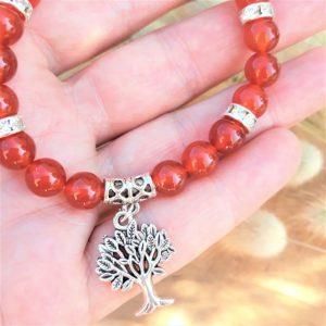 bracelet cornaline et strass avec arbre de vie pour Femme