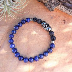 bracelet homme lapis lazuli lave et grosse perle entrelacs