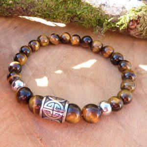 bracelet homme œil tigre et perle acier longévité protection