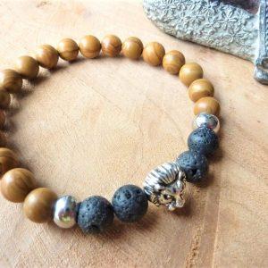 bracelet homme sérénité ancrage bois fossile lave tête lion