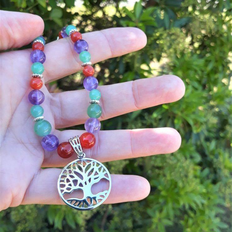 collier améthyste cornaline aventurine arbre de vie acier inox