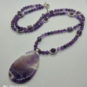 sautoir améthyste violet sérénité lâcher prise paix