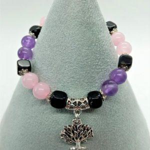 bracelet femme améthyste quartz rose agate noire arbre de vie