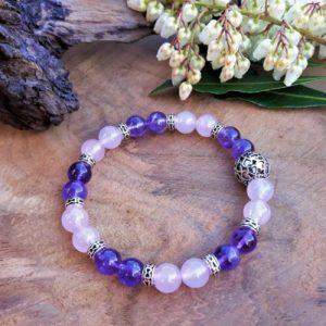 bracelet sérénité quartz rose améthyste femme lâcher prise paix cœur force