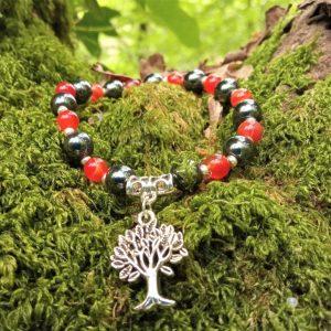bracelet cornaline hématite femme perles rocailles
