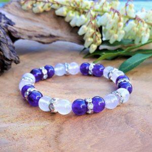 bracelet femme améthyste quartz rose strass