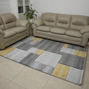 שטיח אומגה דגם קוביות צהוב