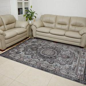 שטיח דמוי משי דגם מדליון אפור