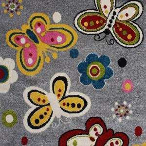 שטיח לחדרי ילדים פרפרים אפור