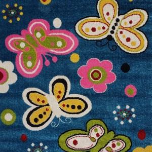 שטיח לחדרי ילדים פרפרים כחול