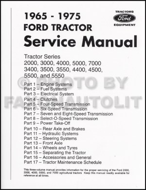 19651975 Ford Tractor Repair Shop Manual Reprint 2000