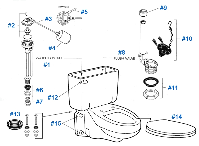 American Standard Toilet Repair Parts For Glenwall Series