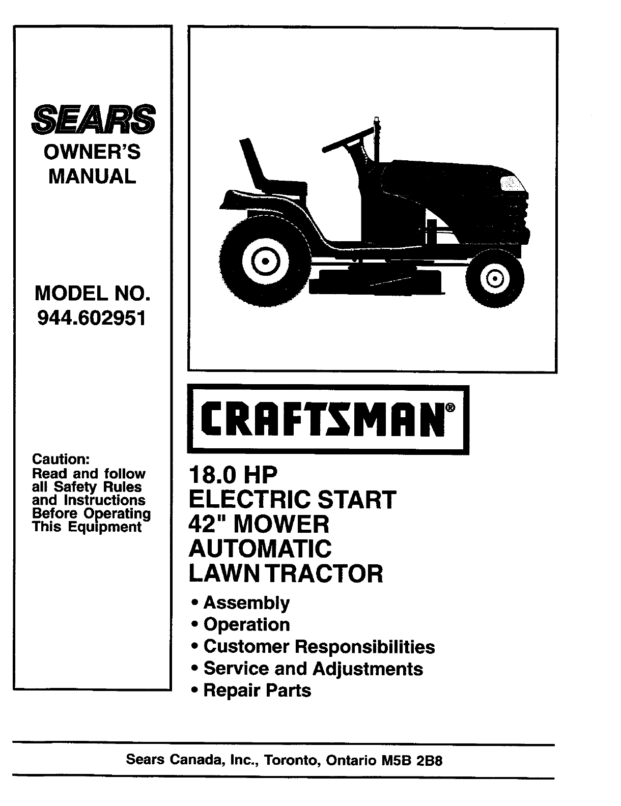Craftsman Tractor Manuals Auto Electrical Wiring Diagram Murray Lawn Harness Riding Mower Parts