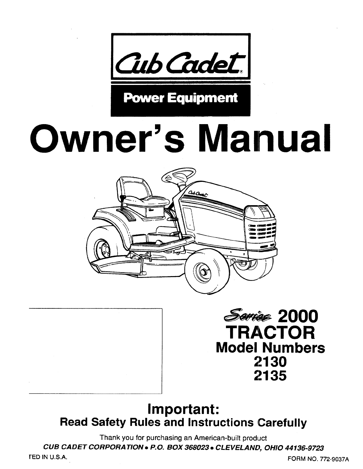 cub cadet mower deck manual