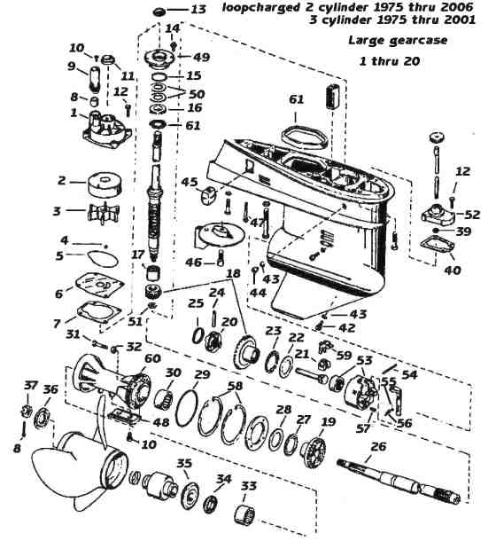 Evinrude / Johnson Outboard Parts Drawings with 40 Hp