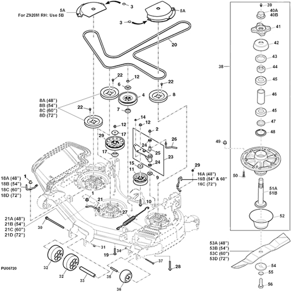 For John Deere Z445 54 Inch Deck Belt Diagram