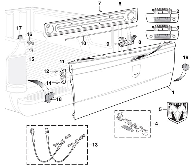 Dodge Ram 1500 Tailgate Diagram. Dodge. Auto Wiring Diagram