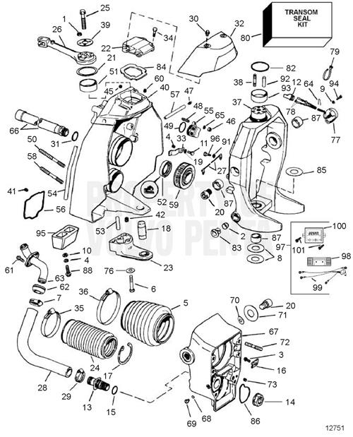 Volvo Penta Exploded View / Schematic Transom Shield Sx-C