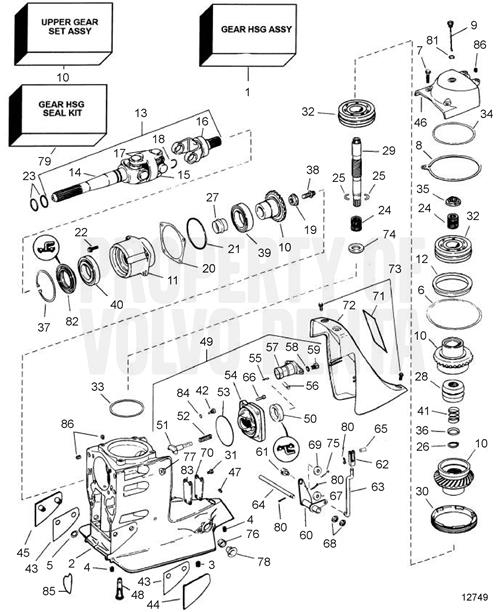 Volvo Penta Exploded View / Schematic Upper Gear Unit Sx