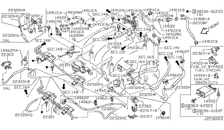 Engine Control Vacuum Piping For 2001 Nissan Maxima for